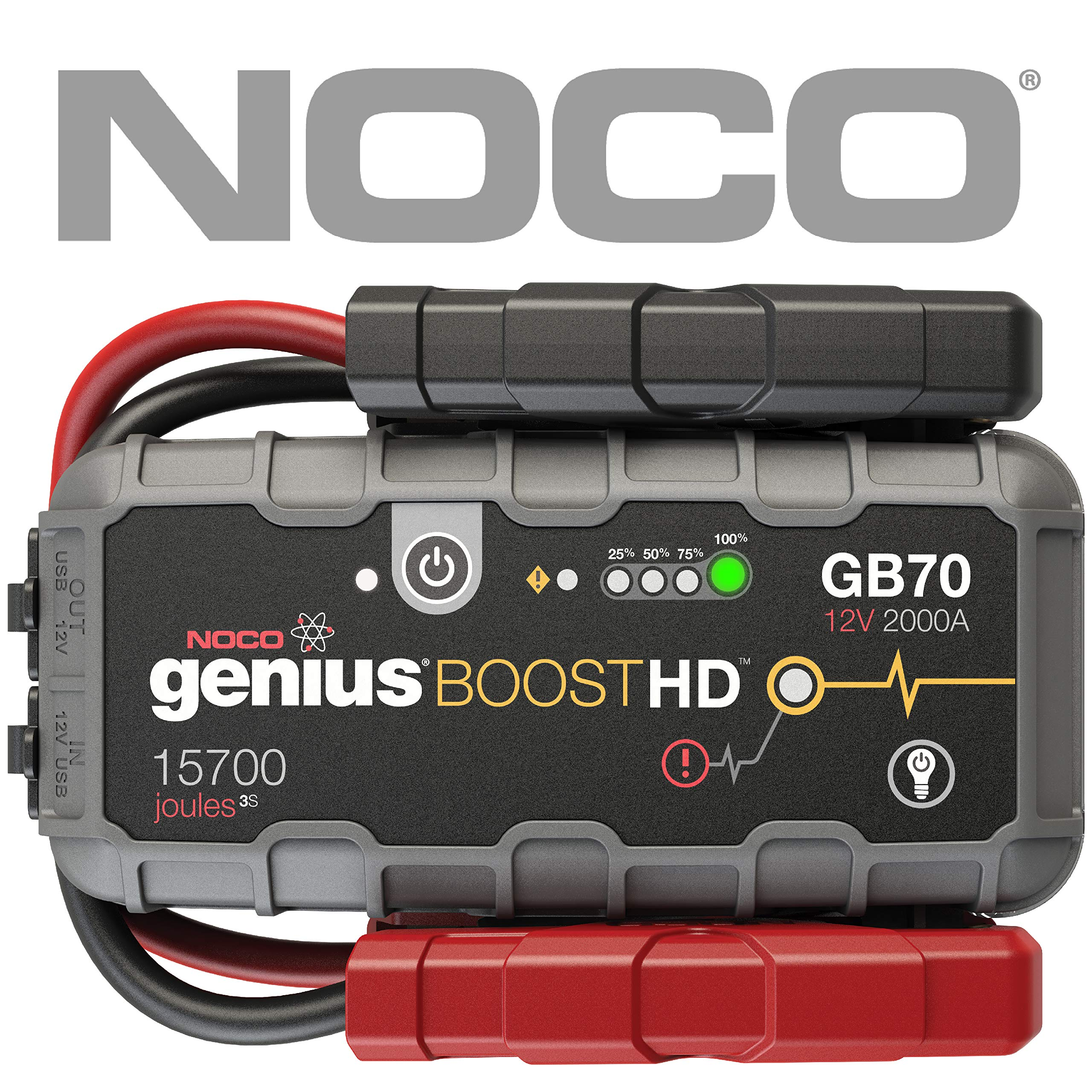 NOCO Boost HD GB70 2000 Amp 12V UltraSafe Lithium Jump Starter for up to 8L Gasoline Engines and 6L Diesel Engines by NOCO