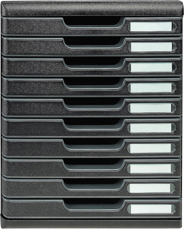 robust mit 5 Schubladen ideal f/ür Dokumente DIN A4 grau//schwarz 350 x 288 x 320 mm Exacompta 301014D Modulo Ablagebox