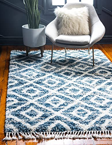 Unique Loom Hygge Shag Collection Geometric Lattice Plush Cozy Blue Area Rug 9 0 x 12 0