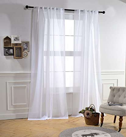 MYSKY HOME Back Tab And Rod Pocket Window Crushed Voile Sheer Curtains For Bedroom White