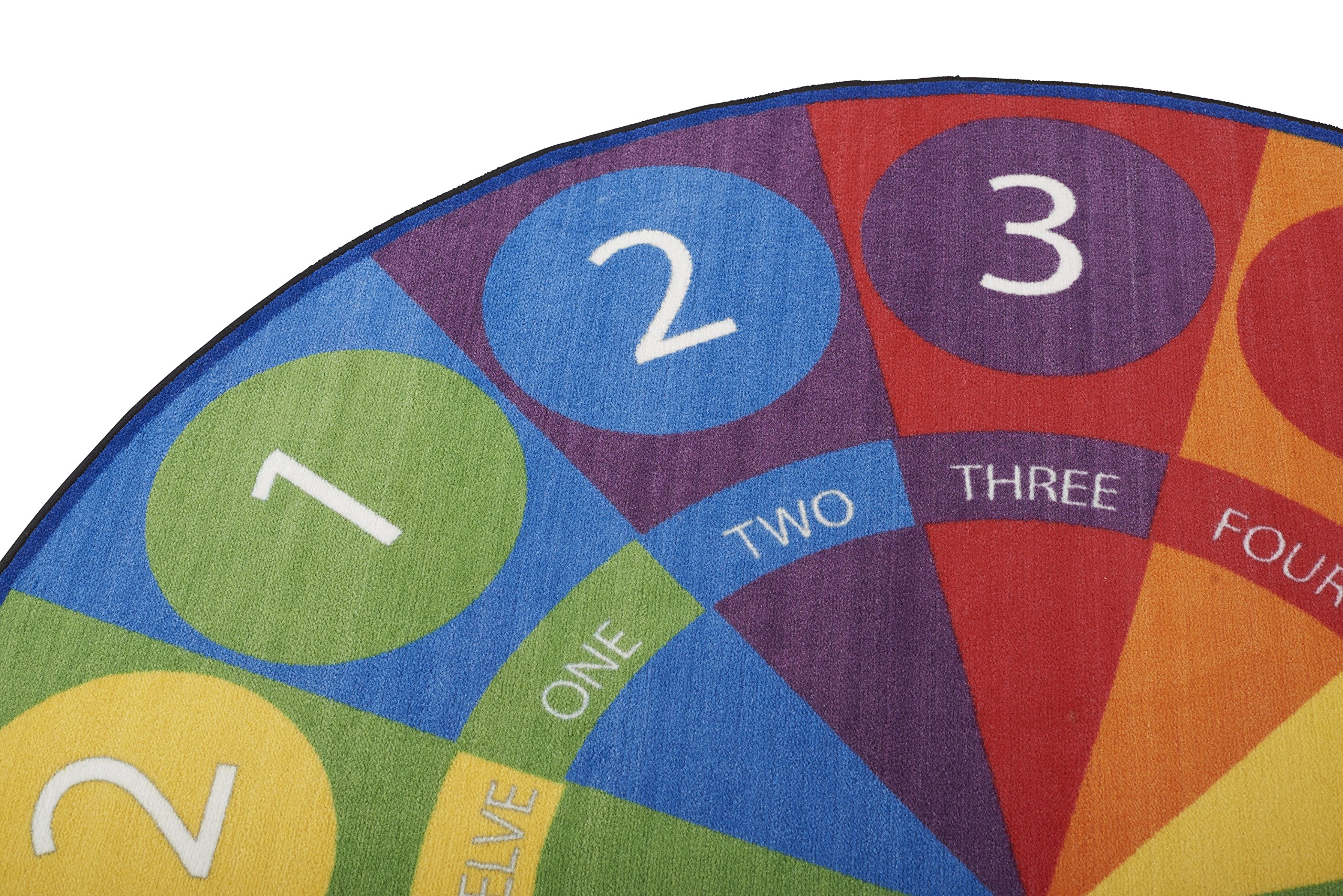 ECR4Kids Tick-Tock Clock Educational Circle Activity Rug for Children, School Classroom Learning Carpet, Round by ECR4Kids (Image #5)