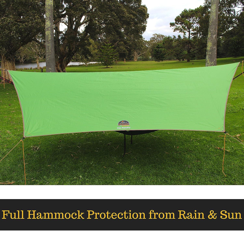 goRoam Outdoors HEX Hammock Rain Fly Waterproof Camping Tarp /& Tent Shelter Durable /& Portable RainFly Easy Setup Pro Grade Micro Hex Ripstop Including Lightweight Aluminium Stakes /& Guy Lines