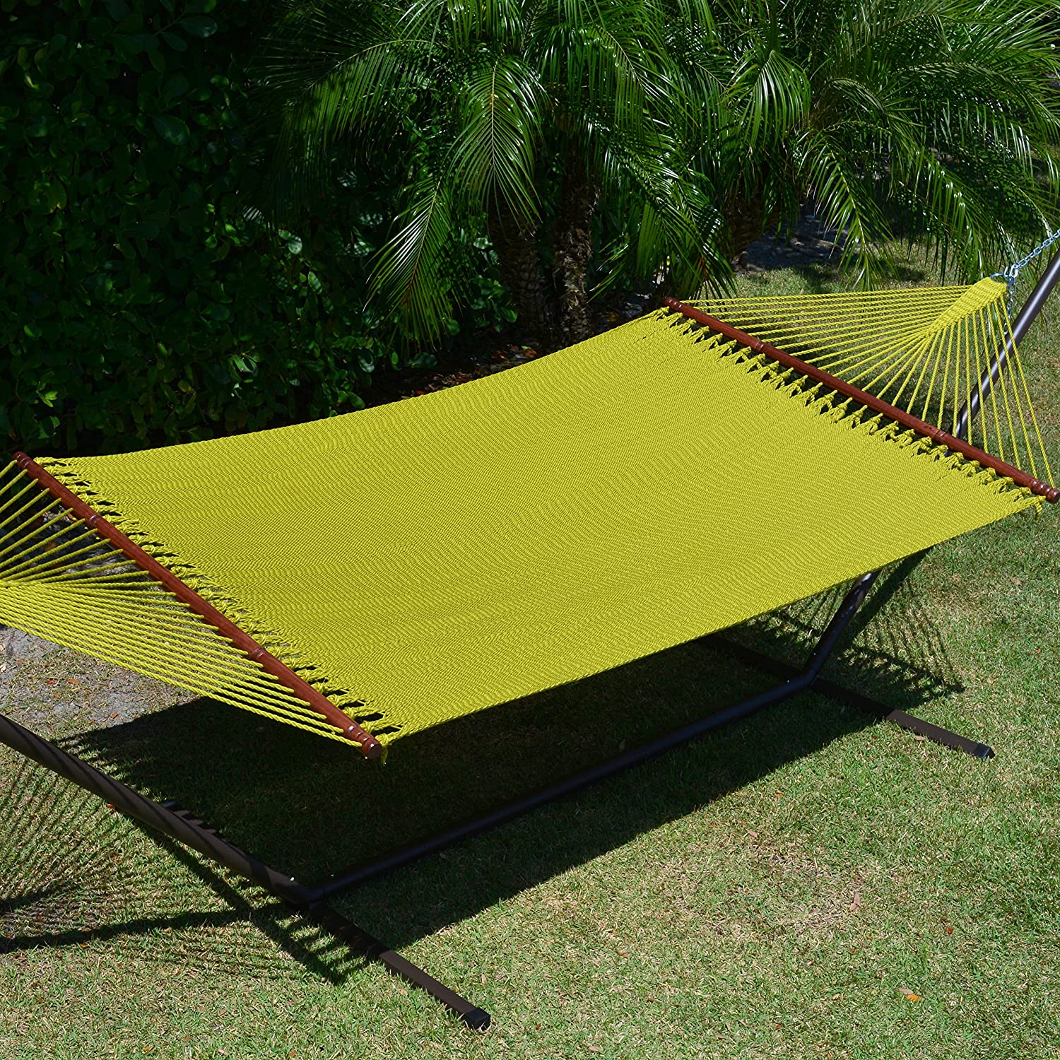 Caribbean Hammocks Jumbo Hammock and 15 ft Tribeam Stand - Olive Green