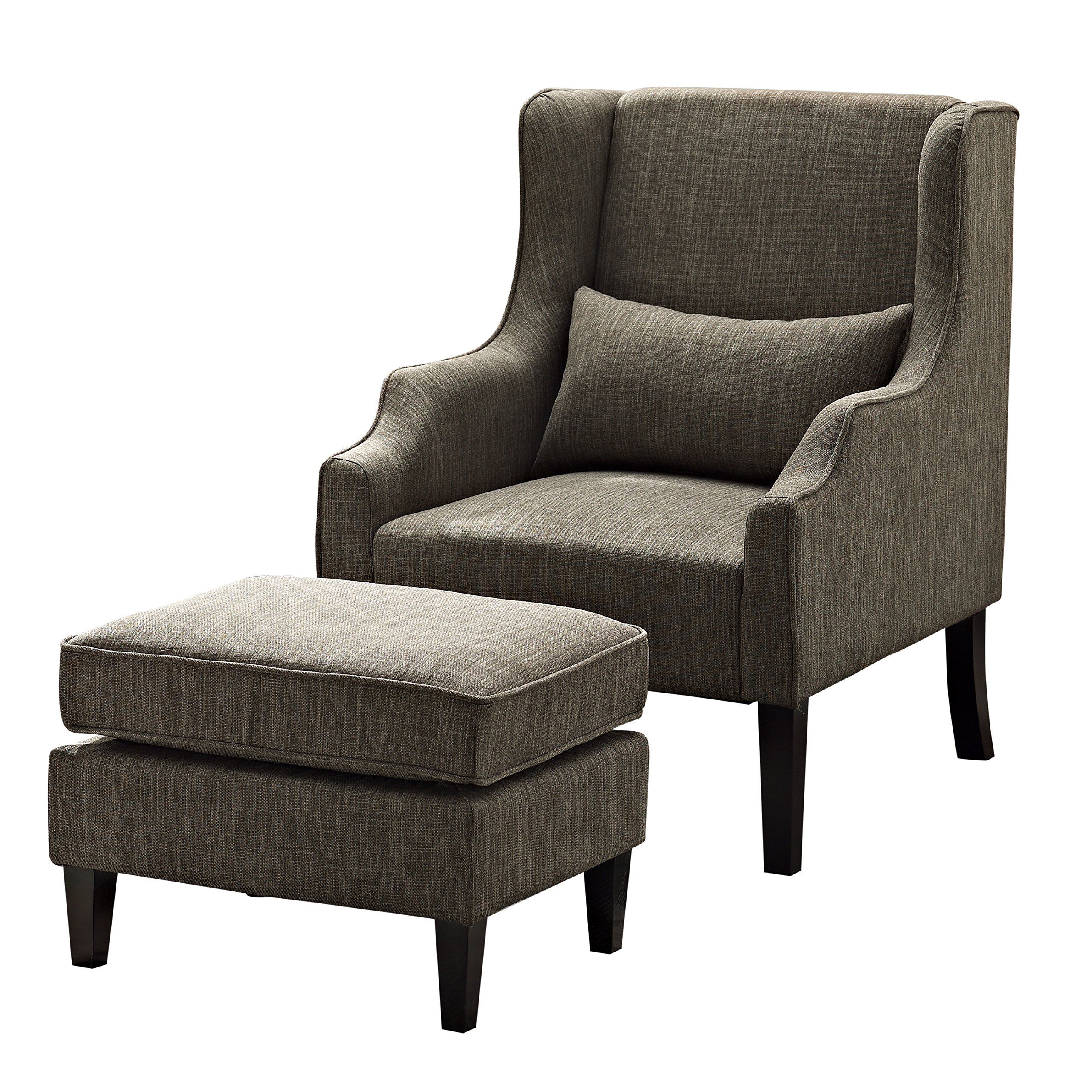 Simpli Home Ashbury Wingback Club Chair and Ottoman, Fawn Brown