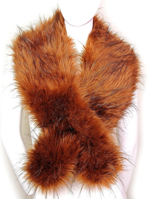 Futrzane Women's Faux Fur Neck Scarf Etola Wrap One Size (Siberian Wolf) Futrzane-etola-48