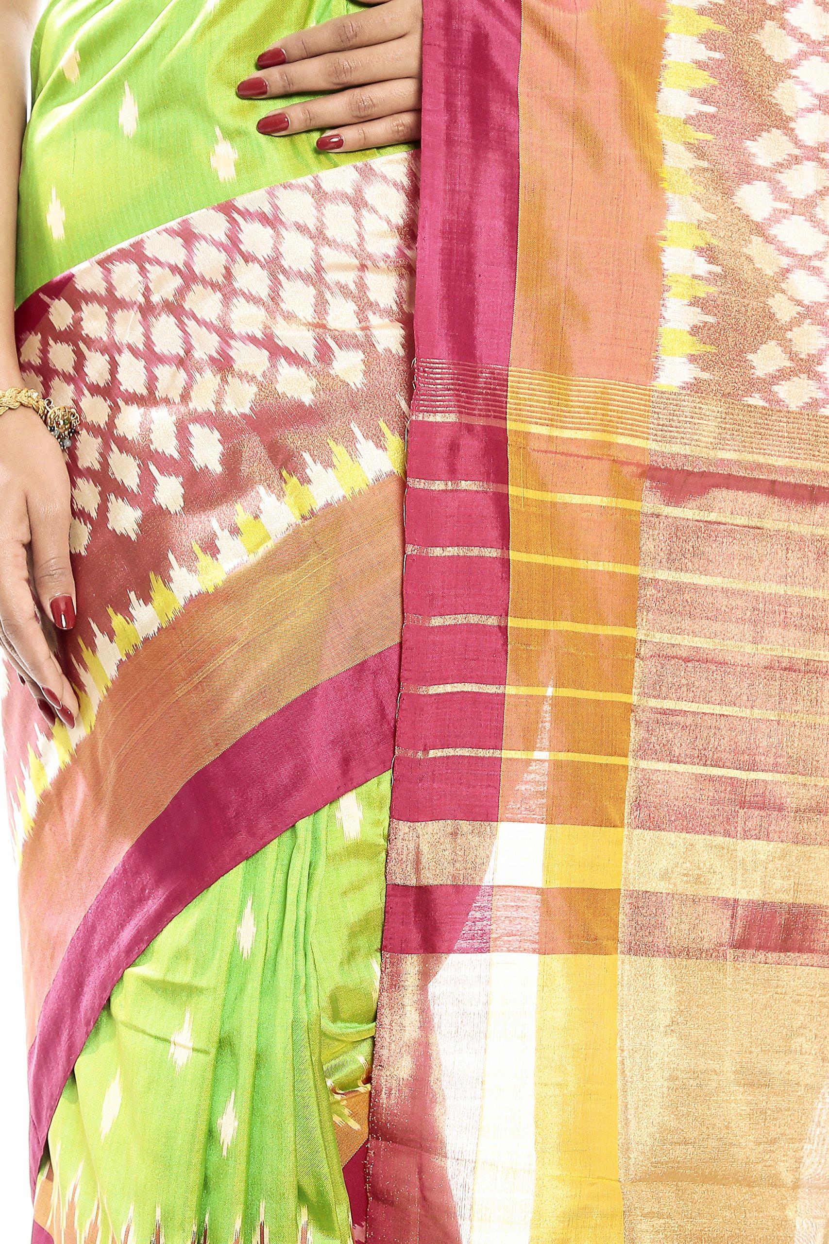 Mandakini — Indian Women's Pochampally - Handloom - Ikat Pure Silk Saree (Pink-Green ) (MK303) by Mandakini (Image #4)