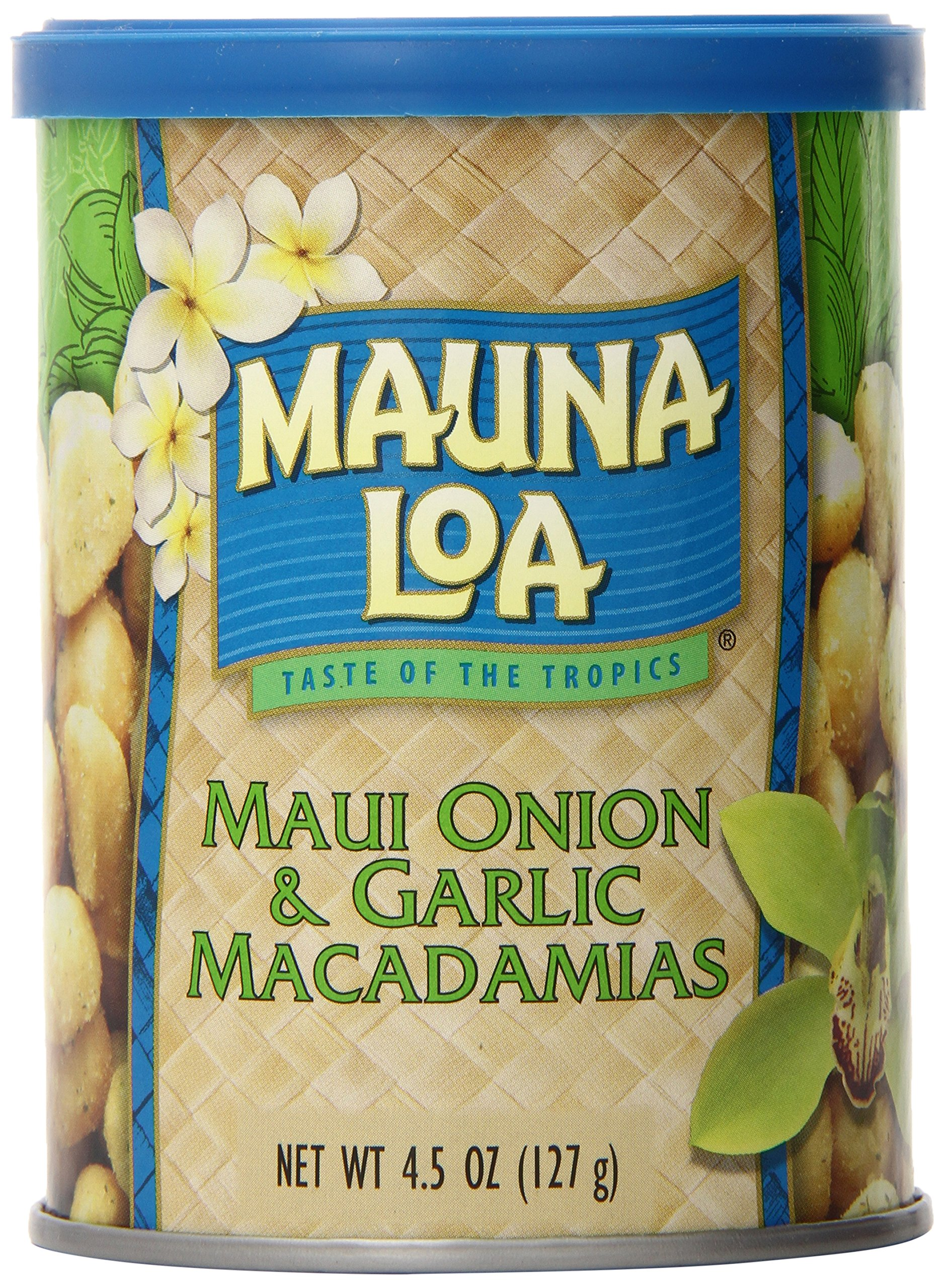 Mauna Loa Maui Onion & Garlic Macadamia Nuts, 4.5-Ounce Can (Pack Of 12) by Mauna Loa