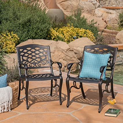 Great Deal Furniture Myrtle Beach Outdoor Shiny Copper Finished Aluminum  Dining Chairs (Set Of 2