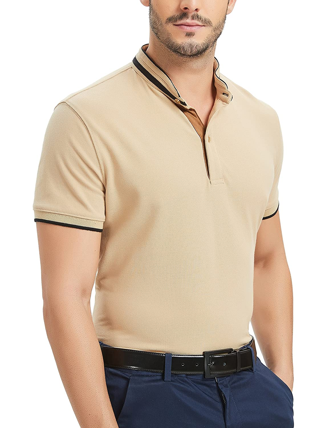 Navifalcon Mens Short Sleeve Classic Fit Cotton Pique Polo Shirt