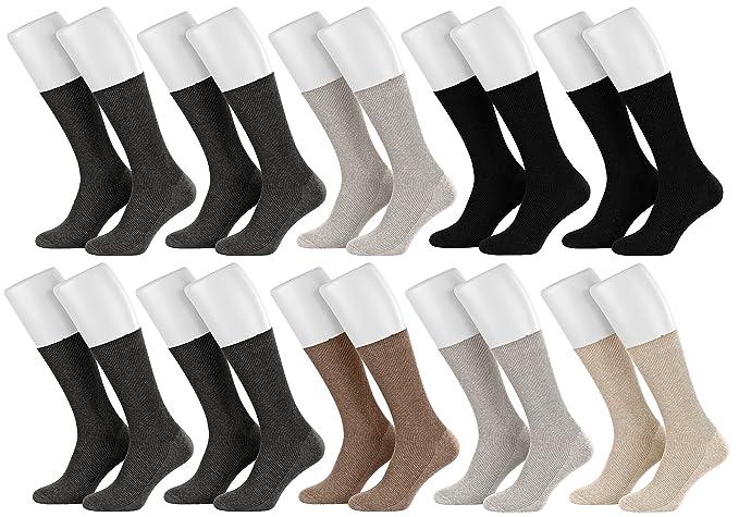 Tobeni 10 Pares de Calcetines de Algodon de Salud Diabetica sin Goma para las Mujer y los Hombre: Amazon.es: Ropa y accesorios
