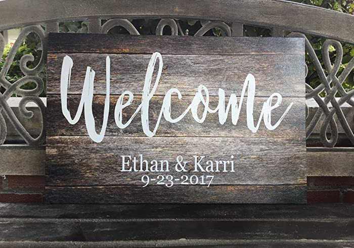 Wedding Welcome Sign Personalized Canvas Rustic Wood Background Custom Day