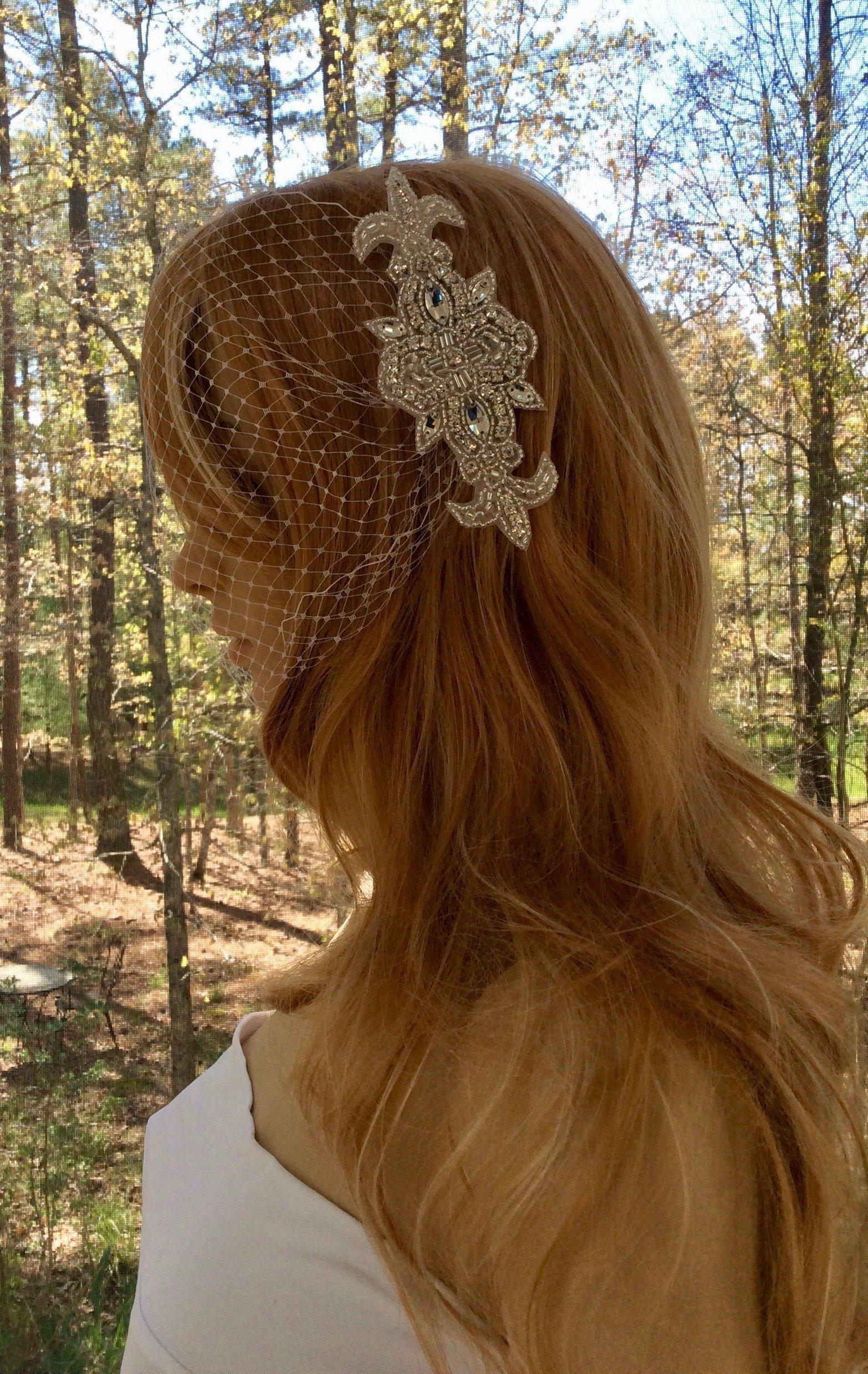 Rhinestone Bridal Bandeau Veil for Wedding