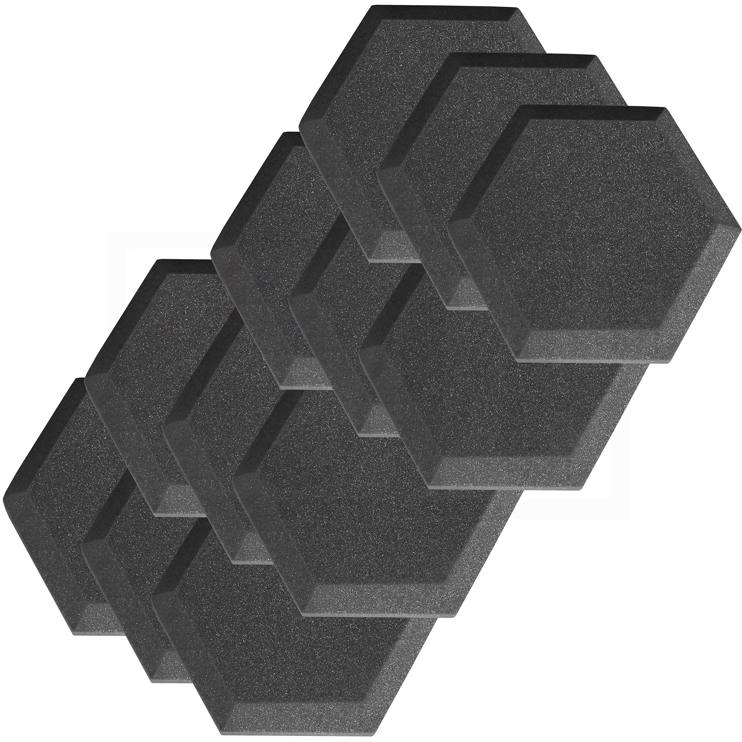 12 Pack Hexagon (Hexagonal) Acoustic Foam Studio Soundproofing Foam Tiles 6'' X 6'' X 1'' Charcoal Art Decor Noise Reduction