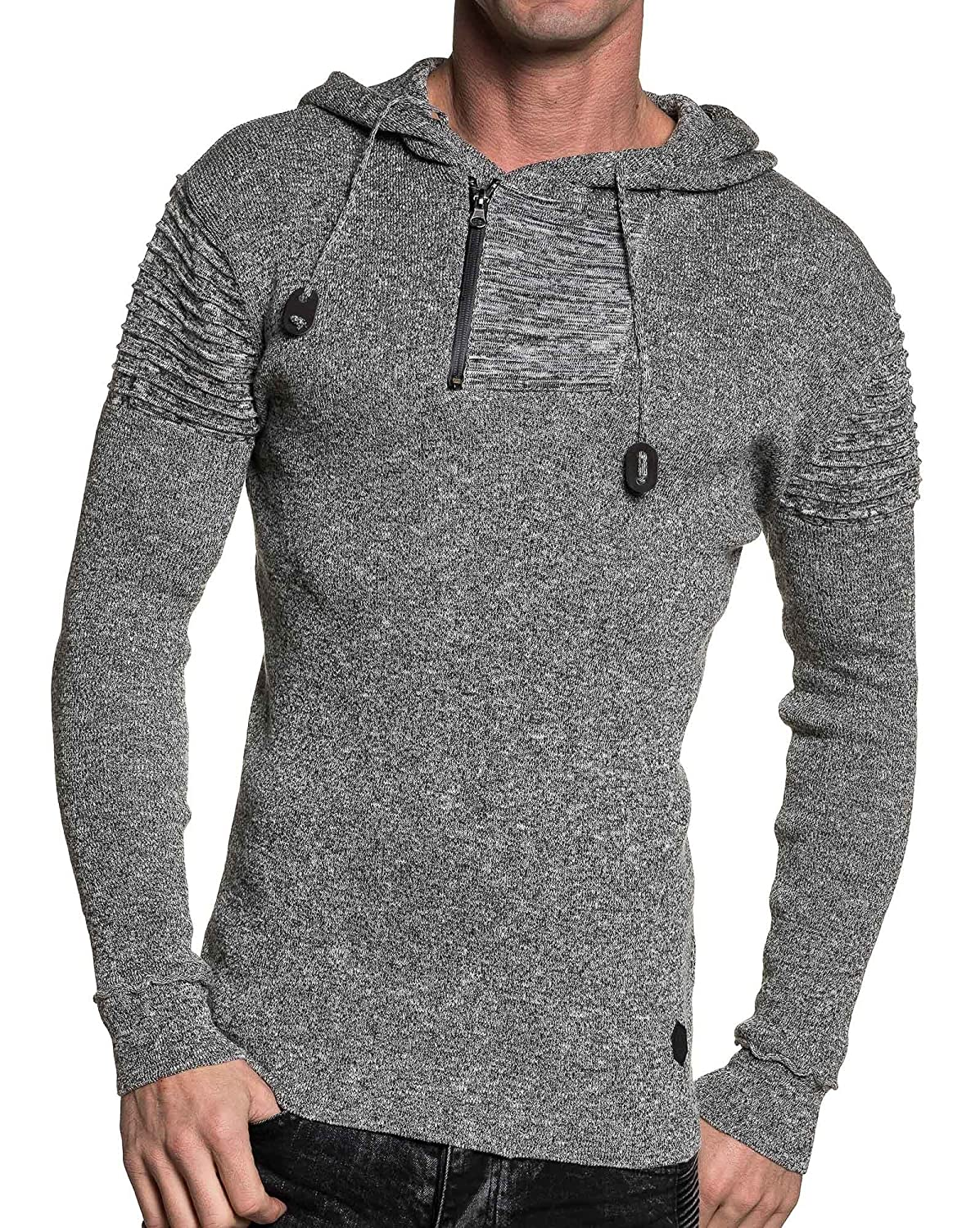 BLZ jeans - fashion sweater gray marl hooded zip neck