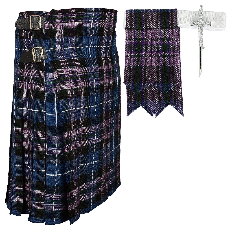 Scottish Pride Of Scottland Tartan Kilt FREE Flashes & Kilt Pin Pride Of Scotland