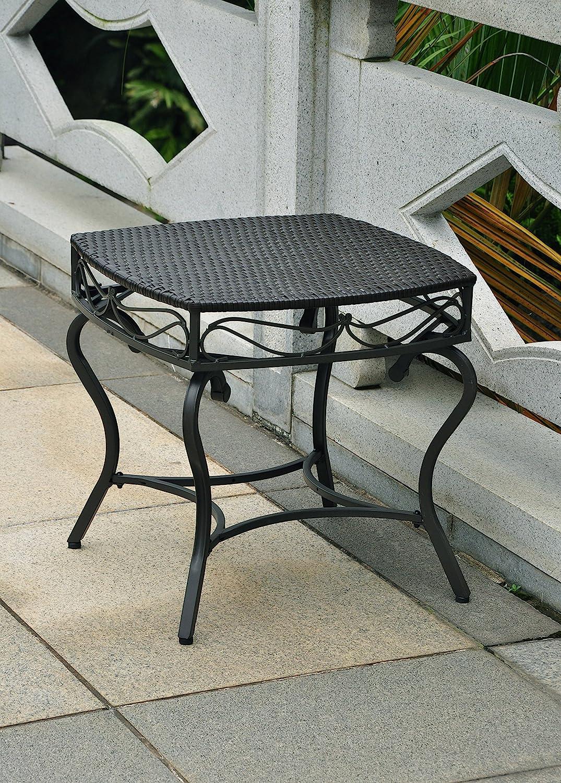 International Caravan Wicker Resin Steel Patio Side Table in Black Antique Finish