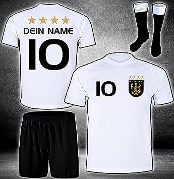 ElevenSports Deutschland Trikot + Hose + Stutzen mit GRATIS Wunschname + Nummer + Wappen Typ #D 2020 im EM/WM Weiss - Geschen