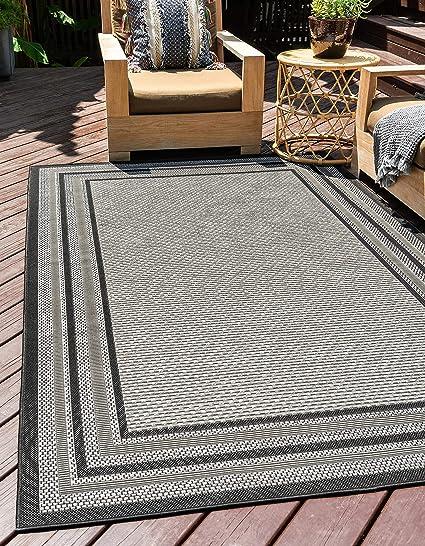 Amazon Com Unique Loom Modern Outdoor Border Contemporary Area Rug