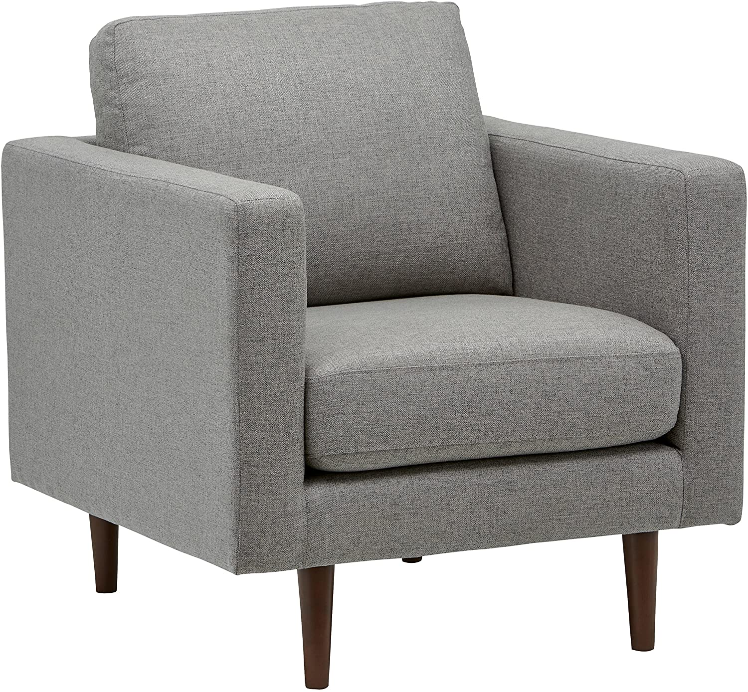 "Rivet Revolve Modern Upholstered Armchair with Tapered Legs, 32.7""W, Grey Weave"