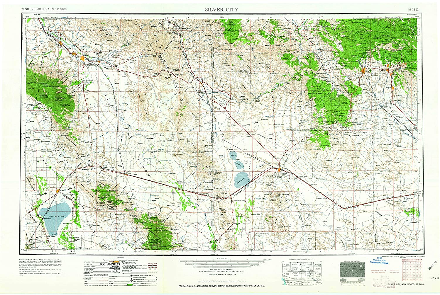 Amazon.com : YellowMaps Silver City NM topo map, 1:250000 ...