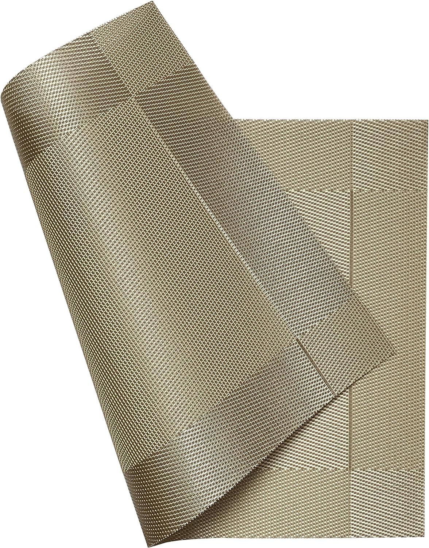 resistentes al calor de PVC Manteles individuales para comedor 6 de vinilo tejido duraderos Guwheat antideslizantes beige lavables