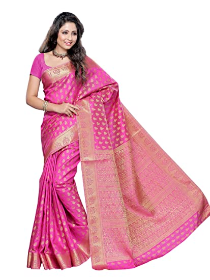 a5d8d24082 Mimosa Women's Art Silk Saree (2038-Pink,Pink,Free Size): Amazon.in:  Clothing & Accessories