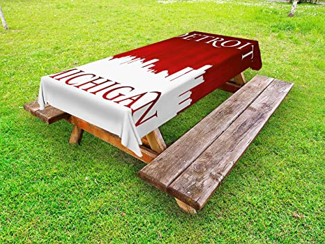 Amazoncom Ambesonne Detroit Outdoor Tablecloth Michigan City - Picnic table michigan