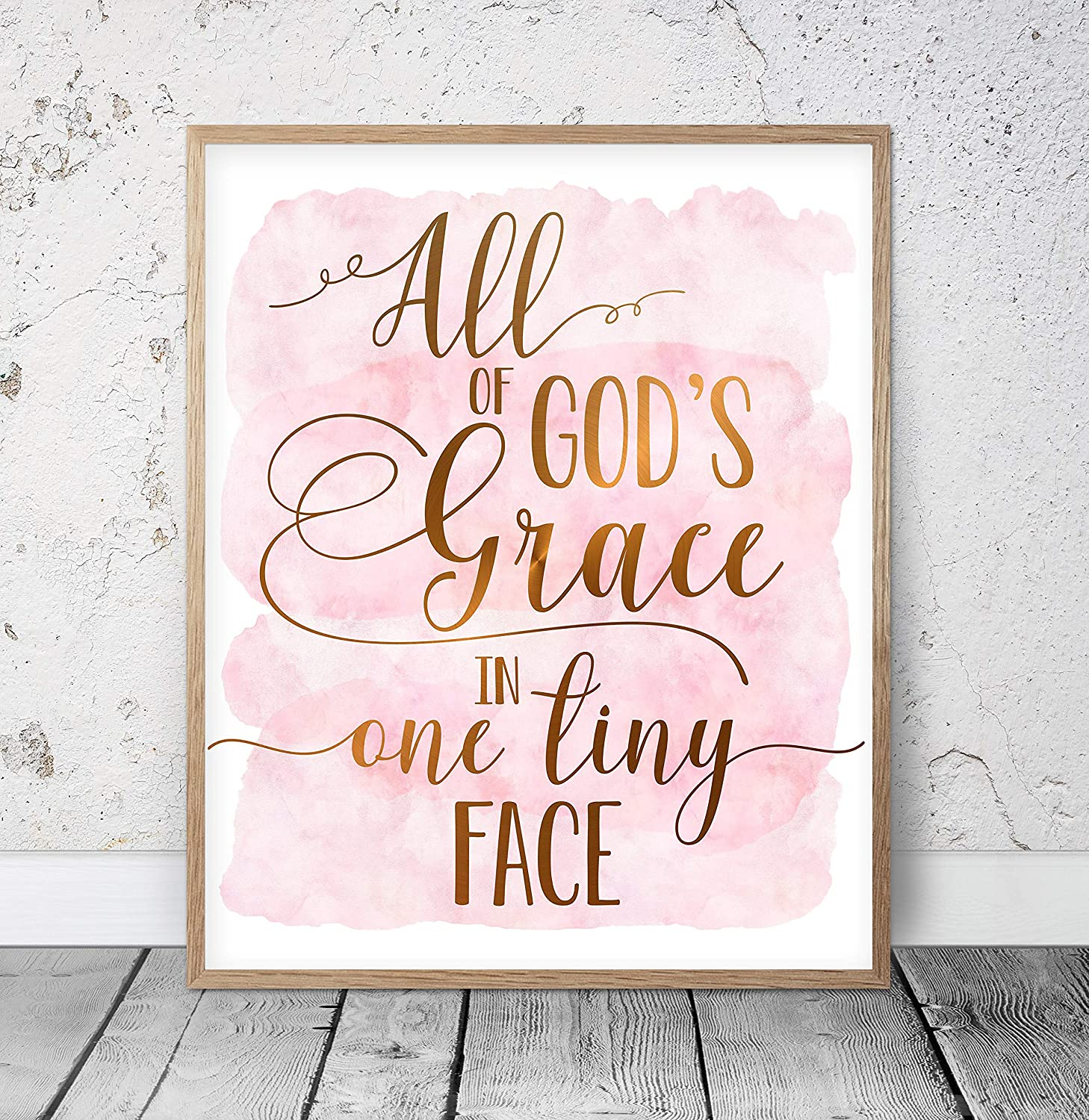 Baby Sign All of Gods Grace in One Tiny Face Religious Baby Quote Sign Nursery Wood Kids Sign 8x12 inch Wall Art Rustic