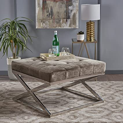 2b0f7caeb2ad7 Christopher Knight Home Jennifer Modern Tufted Grey Velvet Ottoman with  Chrome Finished Stainless Steel Frame