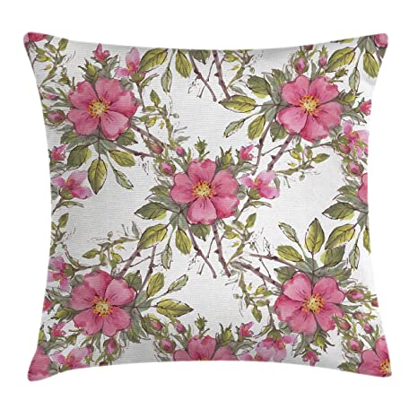 Amazon ambesonne flower throw pillow cushion cover by ambesonne flower throw pillow cushion cover by watercolor dog rose garden pattern with leaves and mightylinksfo