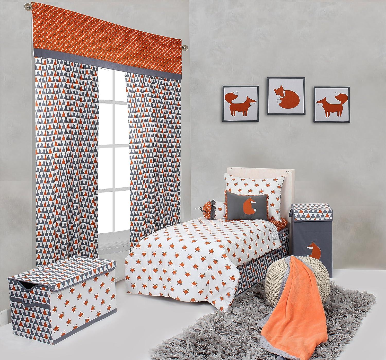 Amazon Bacati Playful Foxs 4 Piece Toddler Bedding Set Orange