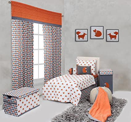 Bacati Playful Foxes 4 Piece Toddler Bedding Set, Orange/Grey