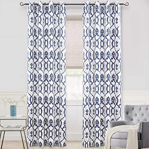 DriftAway Evelyn Thermal Room Darkening Grommet Unlined Window Curtains Ikat Floral Pattern Set of 2 Panels Each Size 52 Inch