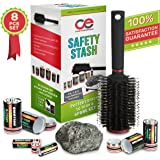 Battery Secret Stash, Hairbrush & Rock Diversion Safe Set By Coral Entertainments. AA, C & D Type Battery Pill Boxes – Ideal For Safely Hiding Money & Jewelry, Home, Car & Outdoors Secret Containers