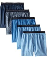 Hanes Red Label Men's 5-Pack FreshIQ Printed Woven Exposed Waistband Boxers - Colors May Vary