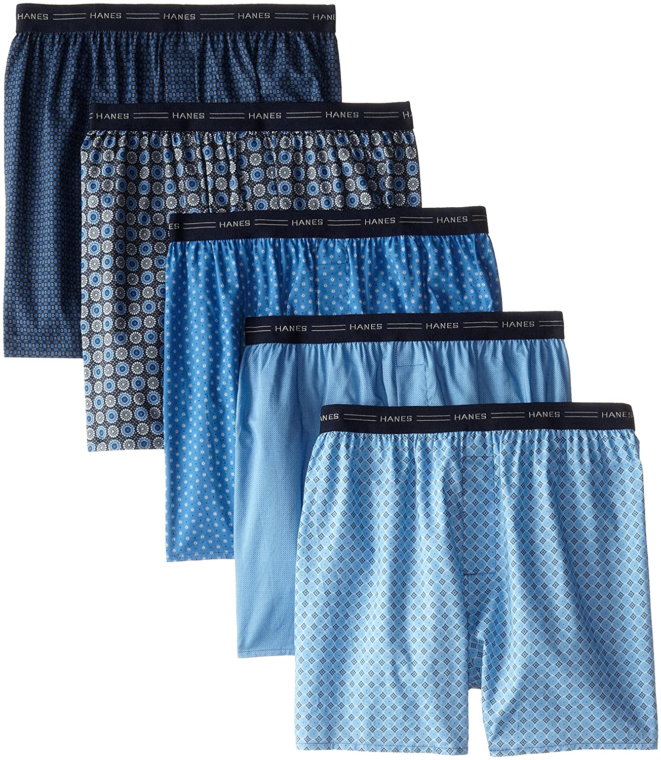 Hanes Red Label Men's 5-Pack Printed Woven Exposed Waistband Boxers 832BX5