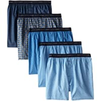 Hanes Men's 5-Pack FreshIQ Printed Woven Exposed Waistband Boxers - Colors May Vary