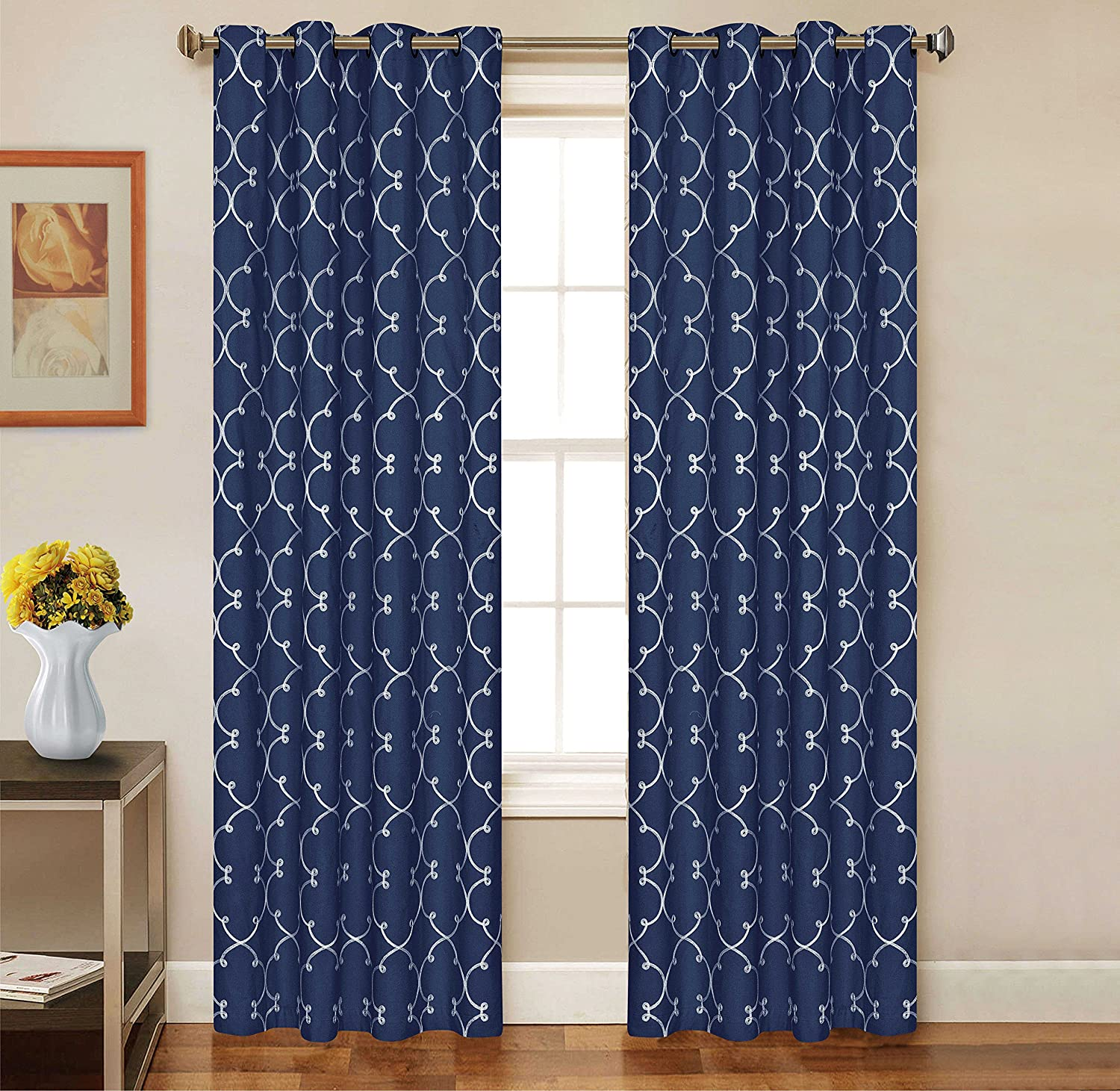 2 Piece Set CARTEL Window Panels Embroidered Grommet Top Decorative Curtains, 54