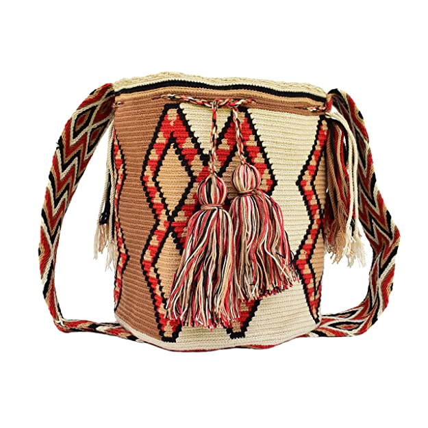 Amazon.com: Wayuu Mochila Bag - Large - Handmade in Colombia by Indigenous Peoples. Made With Crocheted Cotton.: Jewelry