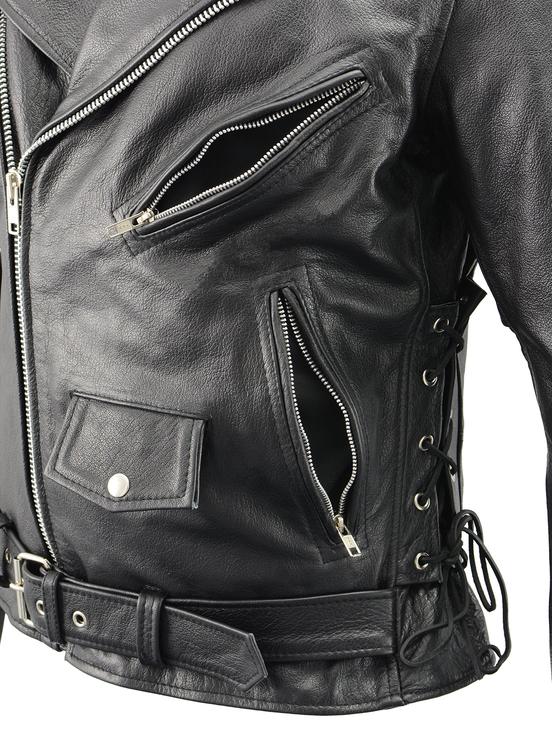 Men's Leather Motorcycle Jacket with CE Certified Armor | Premium Natural Buffalo Leather | 2 Concealed Carry Gun Pockets | Adjustable Side Lace Biker Jacket with Patch Access Lining (Black, 8XL) by The Bikers Zone (Image #6)