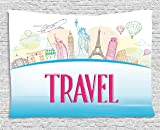 Ambesonne Travel Tapestry by, Famous Landmarks of