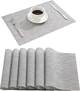 DOLOPL Placemats Gray Place Mats Waterproof Placemats Wipeable Easy to Clean Table Placemats Set of 6 for Dining Kitchen Restaurant Table
