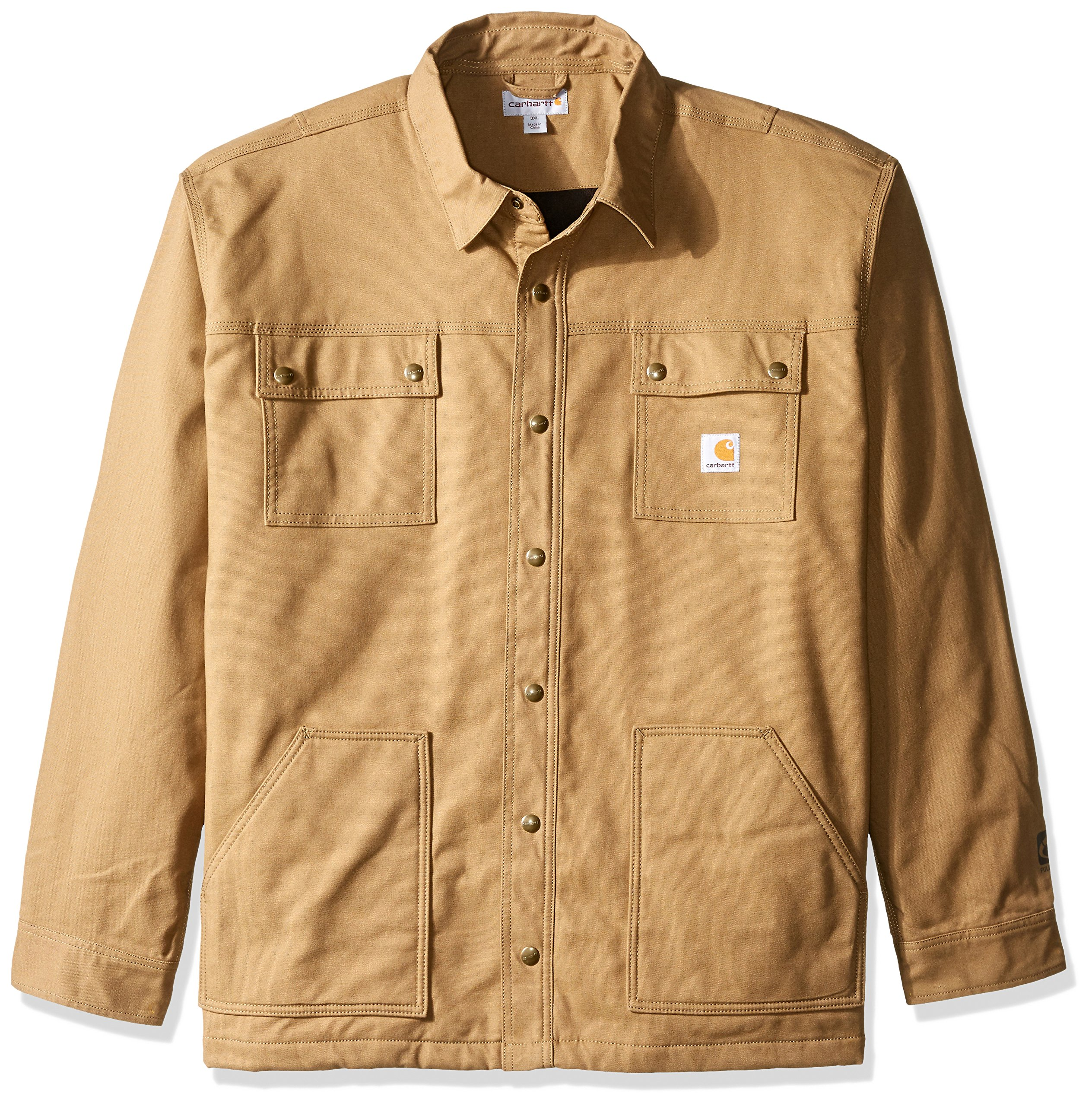Carhartt Men's Big & Tall Full Swing Quick Duck Overland Shirt Jacket, Yukon, 3X-Large
