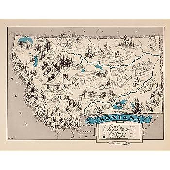 Amazon.com: Vintage Montana State Map 1930s Blue Cartoon Map of ...