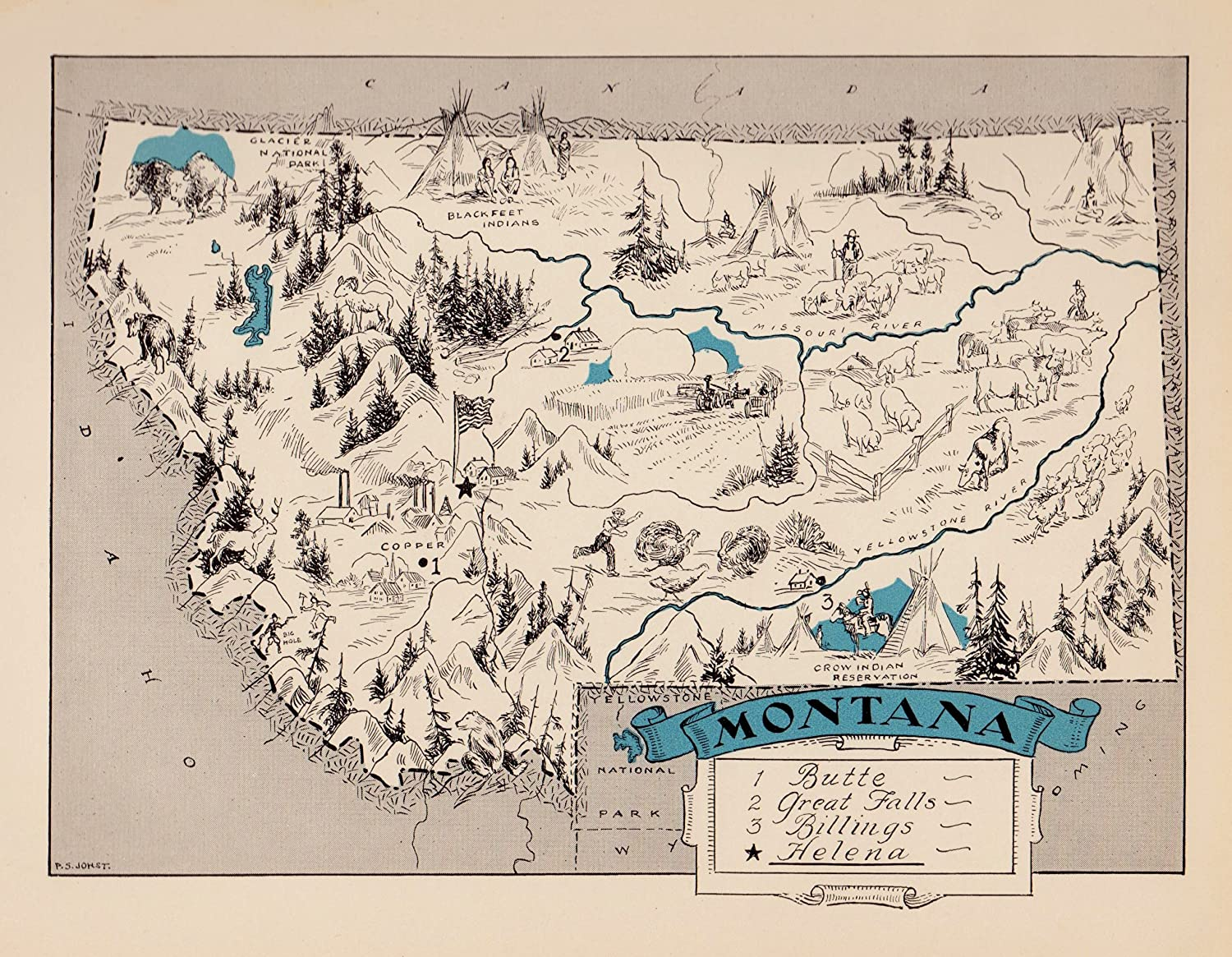 picture relating to Printable Map of Montana identify : Basic Montana Nation Map 1930s Blue Cartoon Map