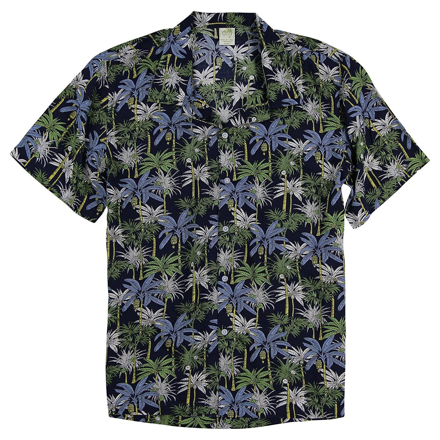 Men's Short Sleeve Rayon Hawaiian Tropical Patterns Shirts