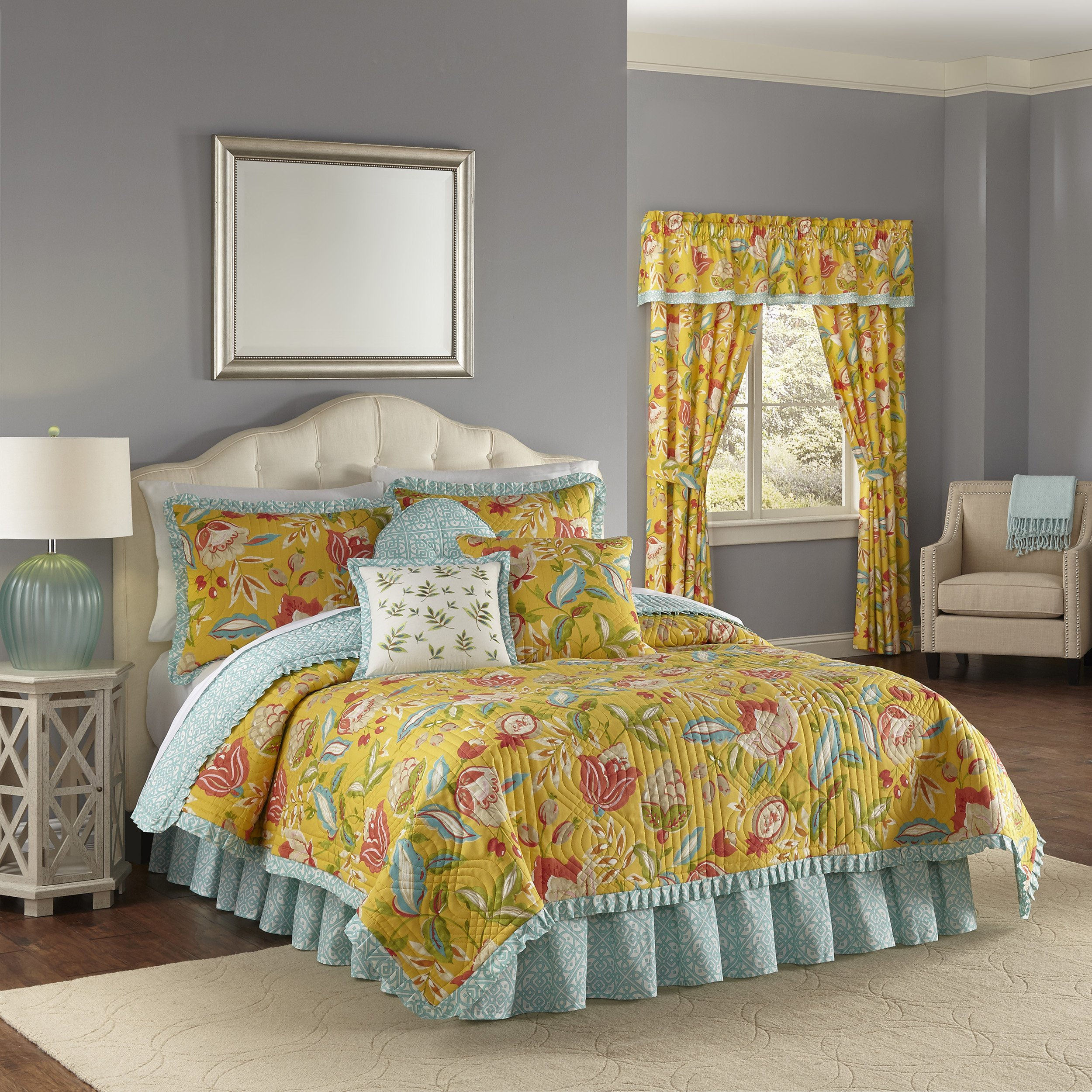 Waverly Modern Poetic Quilt Collection, Full/Queen, Sunshine
