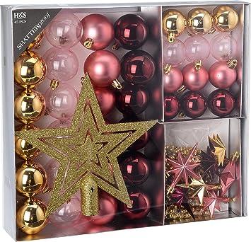 Christbaumkugeln Beerentöne.Amazon De Am Baumschmuck Christbaumkugeln Kunststoff Set 45 Tlg