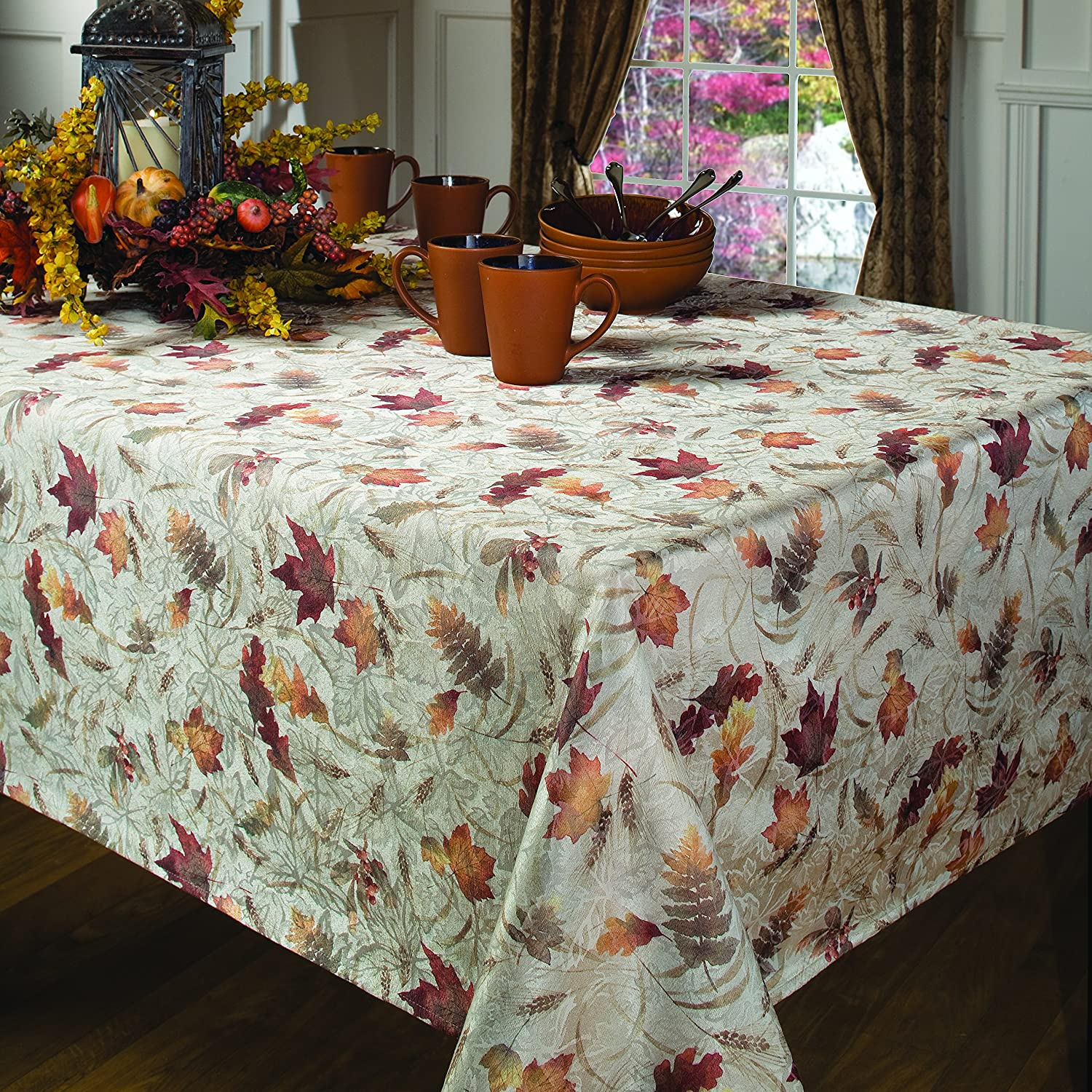 Amazon.com: Benson Mills Natures Leaves Jacquard Printed Fabric Tablecloth,  60 Inch By 104 Inch: Home U0026 Kitchen