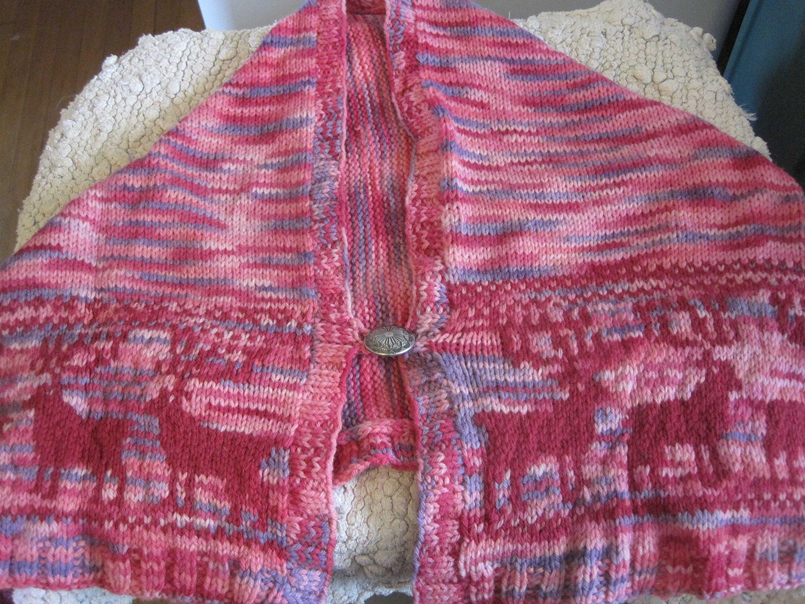 Hand Knit Reindeer Print Shawl